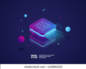 Digital advertising concept, hologram projection, presentation concept, online promotion neon light, isometric vector illustration, dark ultraviolet