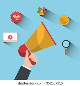 Digital advertising and marketing graphic design, vector illustration