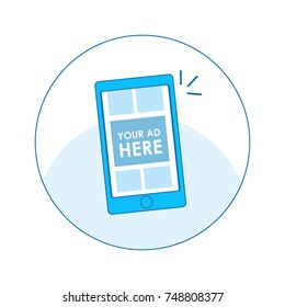 Digital Advertising seo icon Phone with adaptive design with ads and pay per click. Vector flat line illustration