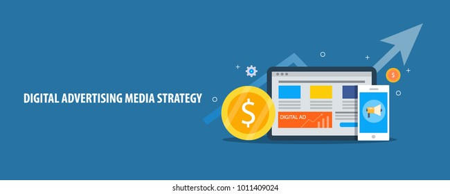 Digital advertising, Social media Strategy, website traffic growth flat design vector illustration on blue background