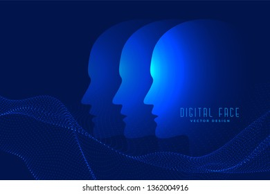 digital ai face with particle face technology background