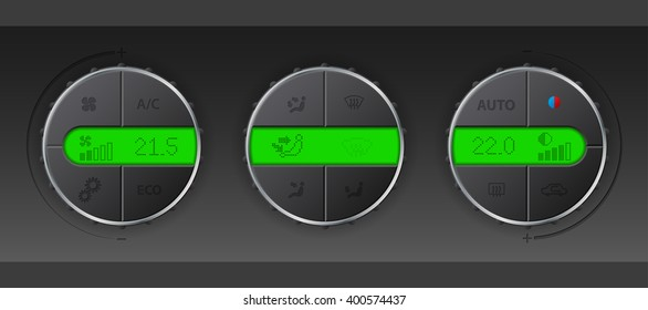 Digital air condition control set with detailed green color lcd