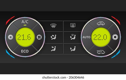 Digital air condition dashboard with complete control and dual ac