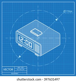 3d clock blueprint images stock photos vectors shutterstock digital alarm clock isometric 3d blueprint icon malvernweather Image collections