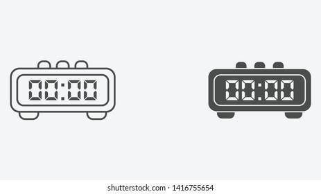 Digital alarm clock vector icon sign symbol