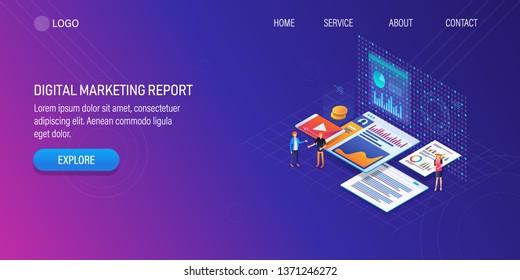 Digital analysis, Digital marketing report, Marketing success, analytics, 3D, isometric vector background