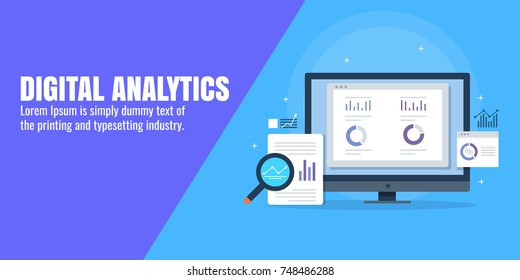 Digital analytics, data marketing, reporting tool flat vector banner illustration with icons and texts