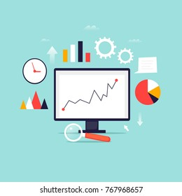 Digital analytics information tools. Big data. Flat design vector illustration.