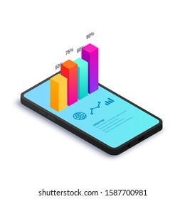 Digital analytics isometric concept. 3d graph data on smartphone screen. Financial strategic report, statistics information for business. Vector illustration for app, web, SEO, marketing infographic