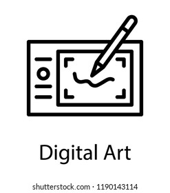 Digital art line icon with wacom pen for digital graphics