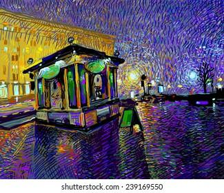 digital art painting of night Kyiv city, vector illustration