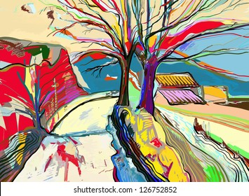 digital art painting of  rural landscape , vector version