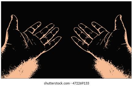 Digital art vector of realistic human hands on black background
