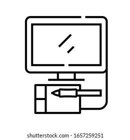 Das Symbol für die Linie Digitale Künste, das Concept-Zeichen, die Umrissgrafik der Vektorillustration, das Linearsymbol.