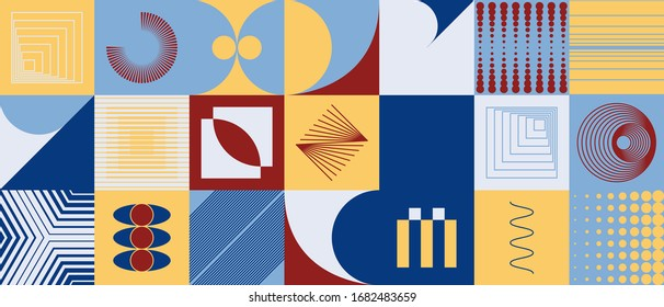 Digital artwork graphic design of simple vector pattern made with geometric shapes and forms, great for web design, website header, business card, invitation, poster, textile print, background.