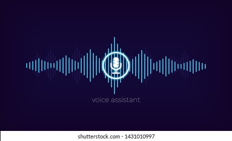 Digital assistant . Voice recognition app . Sound wave and microphone background .