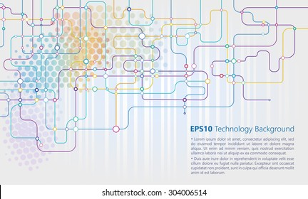 Digital background with colorful network dots and lines