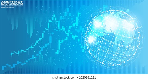 Digital background with World map point global network connection, concept of global business.