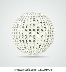 Digital ball. Binary code
