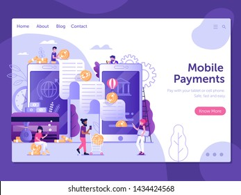 Digital bank Landing page template with flat people characters doing mobile to mobile transfer of money. Smartphone banking payment wire transaction finance web banner concept in flat design.