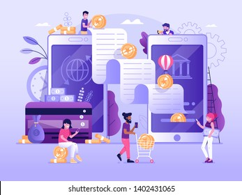 Digital bank UI illustration with flat people characters doing mobile to mobile transfer of money. Smartphone banking payment wire transaction finance concept in flat design.