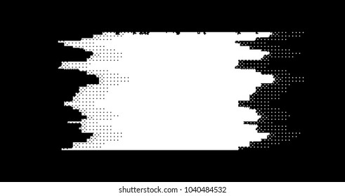 Digital banner with glitch (pixel-art style). Abstract ascii glitch background.
