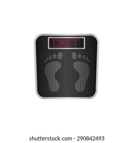 Digital bathroom scale with the word diet on the screen/diet bathroom scale/vector