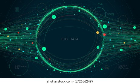 Digital Big Data visualization concept, futuristic infographic business analytics presentation,vector illustration information network