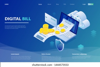 Digital bill and online bank, laptop with check tape. Online bill payment. Laptop, paper receipt check, stack of coins. Digital bill for mobile internet banking concept. Online check payment.