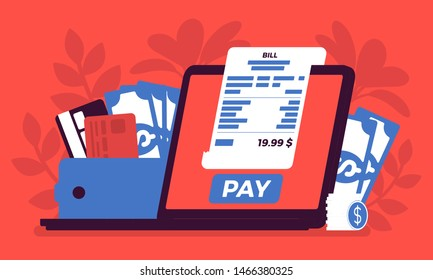 Digital bill online payment. Purchases, financial regulation via laptop screen, technology to replace a wallet, sending money from computer, electronic service. Vector illustration