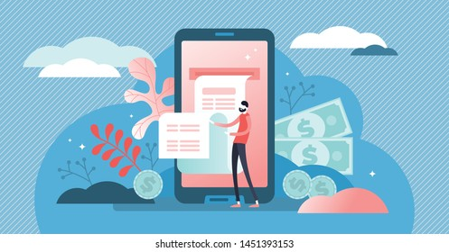 Digital bill vector illustration. Flat tiny phone wallet persons concept. Modern electronic financial payment method. Abstract bank transaction service. Secure online shopping mobile device technology