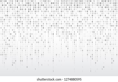 Digital binary code. Computer matrix data falling numbers, coding typography and codes stream gray. Cyberspace stream matrix monitor abstract coding or coded vector background illustration