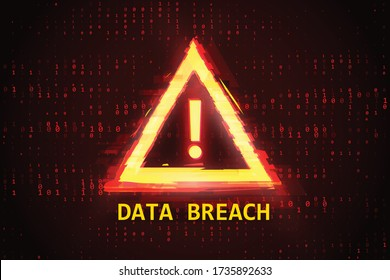 Digital Binary Code Data Breach. Hacked Computer Error Concept. Vector Illustration.