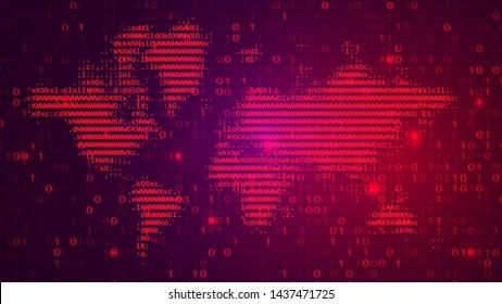Digital Binary Code on Dark BG with Alert Map