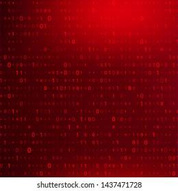 Digital Binary Code on Dark Red BG. Data Breach