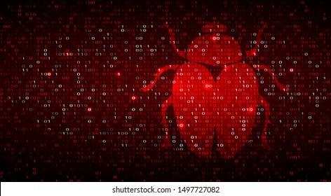 Digital Binary Code on Dark Red BG with Bug