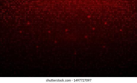 Digital Binary Code on Red BG. Hacker Attack Concept