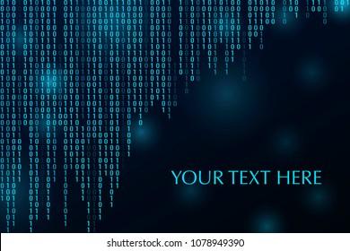 Digitaler Binärcode Null mit einer Matrix, dunkler Hintergrund.1.0. Banner, Muster für Technologie Computer-Grafik Website Internet. Platz für Ihren Text