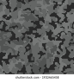 Digital black pixel camouflage seamless pattern for your design. Vector camo texture