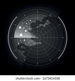Digital black and white realistic radar screen, Abstract radar with targets, Military search system, Vector illustration.