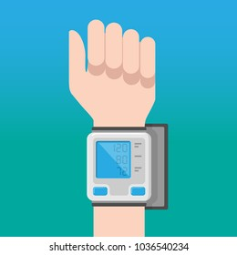 Digital blood pressure monitor on the wrist of the hand on a blue background. Vector illustration.
