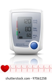 Digital Blood Pressure Monitor with reflection. Vector Illustration