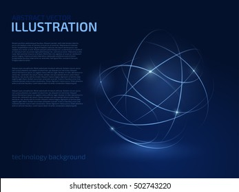 Digital blue lines. Color technology sphere illustration. Modern glowing shape design with glow point. 3d connection.