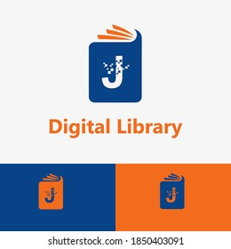 Digital Book and E Book Vector Concept Logo with Initial J letter and Pixel element