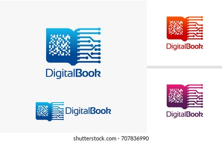 Digital Book logo, Electronic Book logo template, Online Learning logo designs vector
