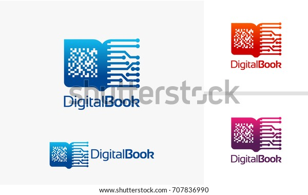 Digital Book Logo Electronic Book Logo Technology