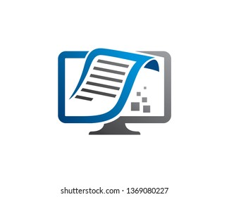 Digital Book, Paper or Document Logo Template, Icon, Symbol - Vector