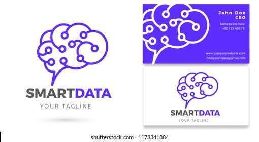 Digital Brain Data Analytics, Digital services, Logo & business card template, Vector Design