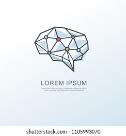 Digital brain intelligence logo icon, Dot conection with circuit board with white background, minimal vector concept.