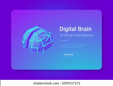Digital Brain Isometric flat style vector design concept. Artificial intelligence technology AI illustration.